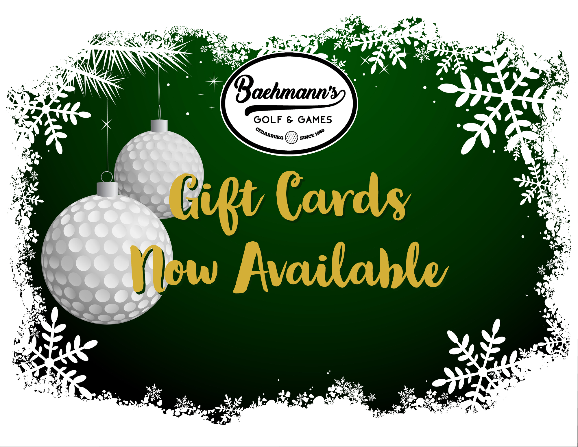Golf Gift, Golf Gift Cards, Baehmanns Golf, Cedarburg, Fox Point, Grafton, Mequon